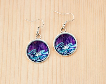 Paper boat on the waves round earrings glass picture art present gift idea christmas birthday