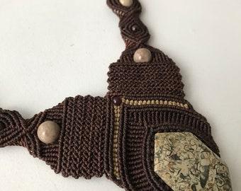 Macrame Necklace w/ Fossilized Shells