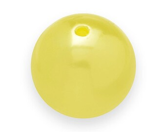 10 YELLOW Faux PEARL Beads 20mm Vintage Style Acrylic Round Gumball H114