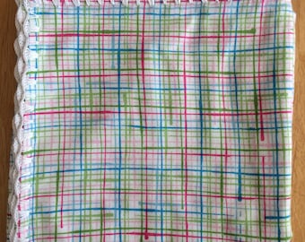 Crochet/Flannel Baby/Receiving Blanket - Painted Plaid