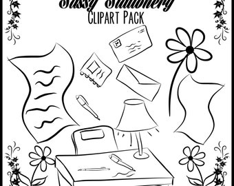 80% OFF SALE Sassy Stationery clipart flowers, paper, pen, commercial use, vector graphics, digital clip art, digital images - pack 89