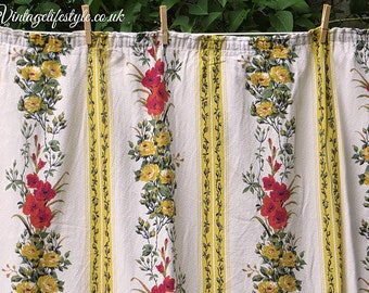 Gladiola and Roses Barkcloth Curtains / Fabric