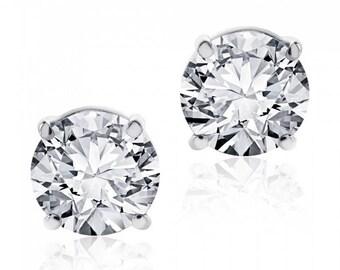 1.25 cttw Round Brilliant Diamond Screw Back Studs F-G/SI1 14K White Gold