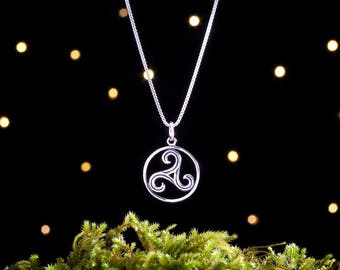 Sterling Silver Celtic Triskelion - (Charm, Necklace, or Earrings)