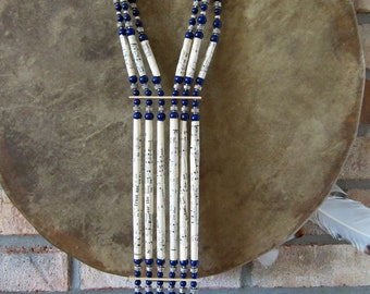 Handmade Musical Breastplate with Cobalt Blue Beads