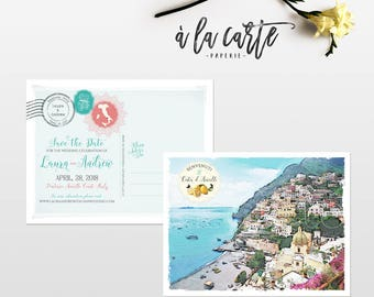 Destination wedding invitation Amalfi Coast Italy Wedding Save the Date postcard Positano sketch watercolor drawing illustration Deposit