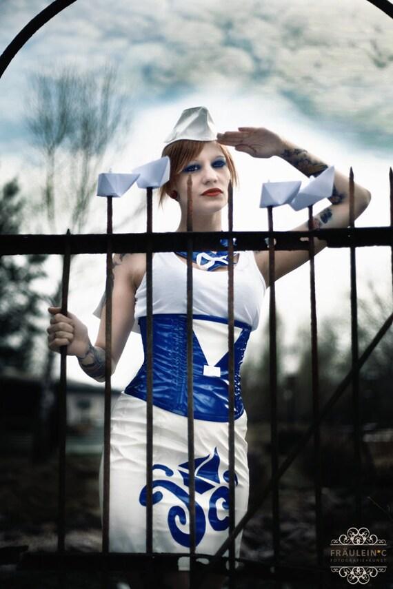 Korsett corsage sailor girl taillenkorsett lack fetisch uniform marine sample sale