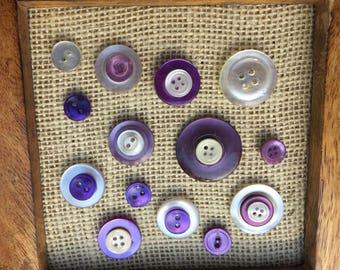 Button Push Pins- Vintage Purple Button Thumb Tacks- Push Pins- Thumb tacks