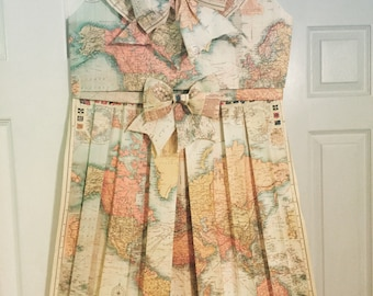 world map handmade folded map dress vintagenursery decorroom decor
