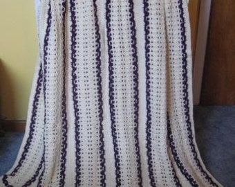 Purple and Cream Color Afghan with Scalloped Panels   Ready to Ship