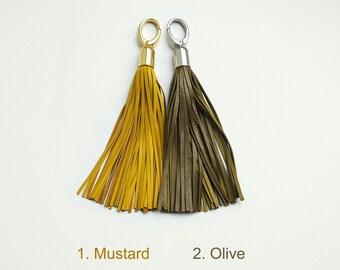 Leather Tassel, Mustard and Olive long tassel, Large tassel keychain