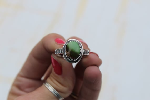 Royston Turquoise Stamped Band Ring- Size 9