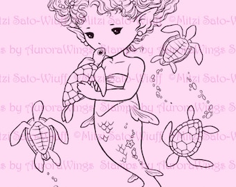 Digital Stamp - Sea Turtle Kiss Full Version - Little Mermaid with Baby Turtles - Fantasy Line Art for Cards & Crafts by Mitzi Sato-Wiuff