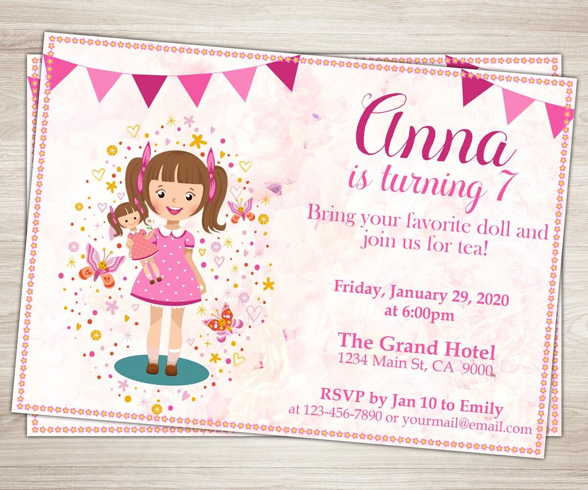 Baby Doll Party Invitation. Doll Girl 7th Birthday Invitation.