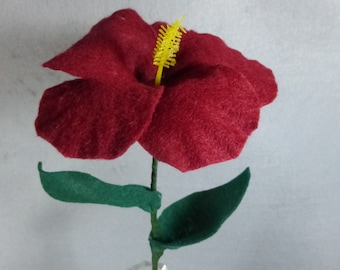 Red Felt Hibiscus Made-To-Order-Artificial Flower Stem - Fake Flower - Felt Flower - Artificial Hibiscus - Fake Hibiscus - Hawaii Flower