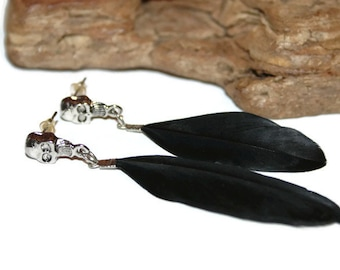 Vintage Gothic Earrings, Skull Earrings, Skull Jewelry, Gothic Jewelry, Gothic Earrings, Black Feather Earrings, Black and Silver Jewelry