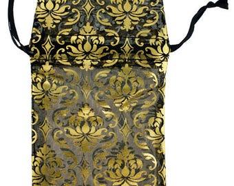 "Organza Drawstring Pouches Black & Gold Damask 2-3/4""x3-1/2""  (72 pieces) (DBX1292G)"