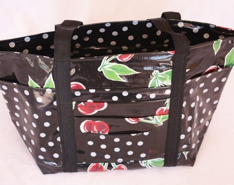 Oilcloth Bag in Black and White with Cherries