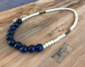 Wooden Bead Necklace • Beaded Necklace • Boho Necklace • Statement Necklace • Long Necklace • Wooden Beads • Blue Necklace • Layering