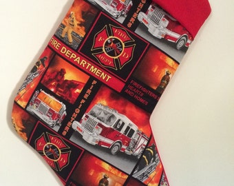 Fire Department Christmas Stocking can be personalized