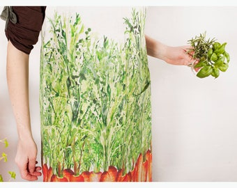 Printed Linen apron - Women's aprons - Custom aprons - Apron pattern - Personalized apron