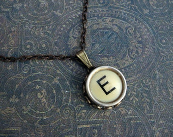 Initial Necklace - Typewriter Key Necklace - Initial E