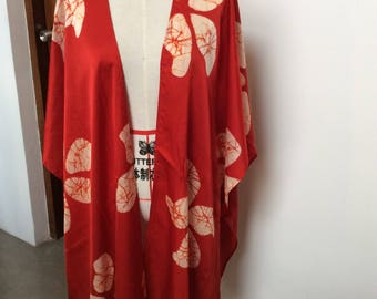 Red & white hand painted floral satin silk poncho / wrap / shawl / beach coverup