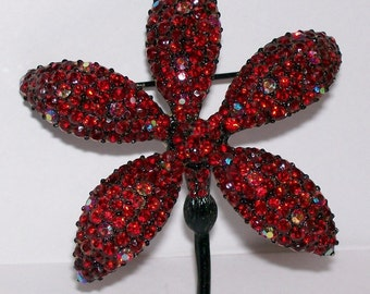 Vintage Signed BSK Red Rhinestone Floral Brooch Pin Black Japanned Finish Flower B.S.K. Jewelry
