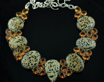 Natural Dalmatian Jasper & Honey Quartz Gemstone Sterling Silver Necklace,Gemstone Silver Necklace