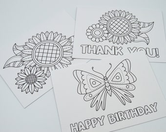 Color Your Own Greeting Cards Set Of 3