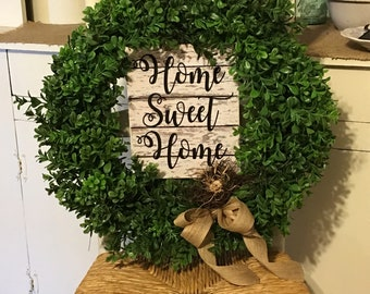 Farmhouse Wreath,Front Door Wreath,Green Wreath,Boxwood Wreath,Artificial Wreath,Home Decor,Home Sweet Home Wreath