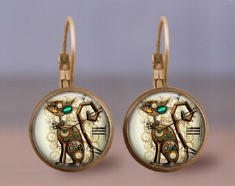 Steampunk Cat,  Steampunk earrings, Steampunk Jewelry