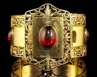 Antique Victorian Large Gold Bracelet Gold Gilt Cabochon Stones