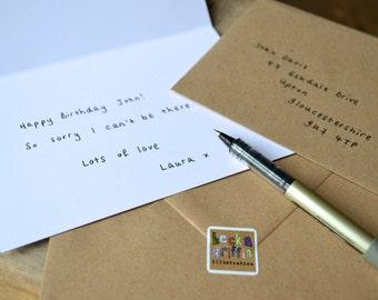 Any Becka Griffin Illustration card handwritten and sent direct to recipient - send direct - handwritten card - message written inside card