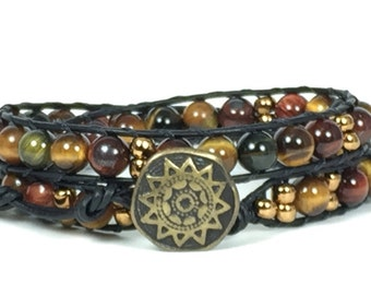 Wrap Bracelet, Beaded Leather Bracelet, Beaded Wrap Bracelet, Beaded Leather Wrap Bracelet, Tiger Eye Wrap Bracelet, Natural Stone Jewelry