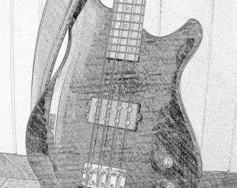 Bass Guitar matted print item # M2006