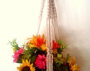 Coral Hanging Planter with Macrame Basket