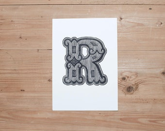 A4 Industrial Alphabet Linocut Print: Letter R
