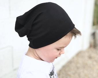 Black beanie/ Baby slouchy beanie/ baby boy  beanie/ hipster beanie/ baby hat/ toddler beanie/ toddler hat/ slouchy knit hat
