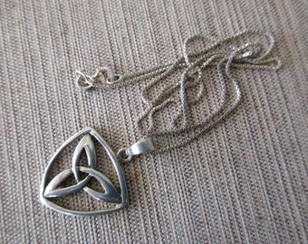 """sterling silver celtic necklace - 925, 18"""" box chain, celtic knot"""