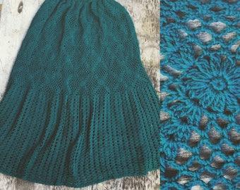 S/M 70s crochet midi skirt