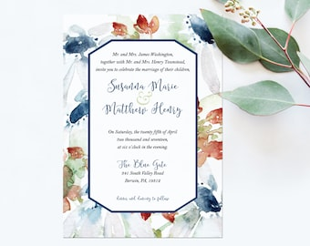 Wedding Invitation Printable – Navy and Red Watercolor Wedding Invitation – Watercolor flowers Wedding - Navy Flower Wedding Stationery