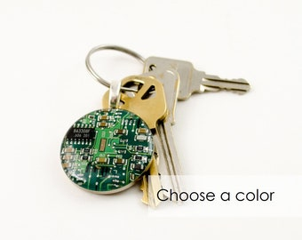 Circuit Board Keychain CHOOSE COLOR, Computer Key Fob, Geek Gift, Wearable Technology Gift, Electrical Engineer Gift, Computer Science