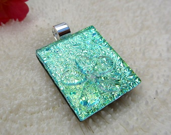 Golden green dichroic fused glass Flower Pendant