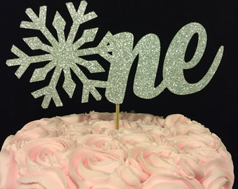 1st birthday cake topper, One cake topper, winter wonderland cake topper, 1st birthday winter cake topper, snowflake cake topper, One