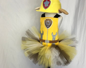 Paw Patrol Birthday * Rubble Inspired*  Tutu Set * Tutu Outfit * Tutu Skirt * 1st Birthday Tutu * Custom Tutu * Girls Tutu Skirt