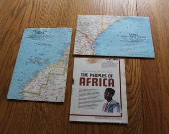 Set of 3 National Geographic Maps - Africa