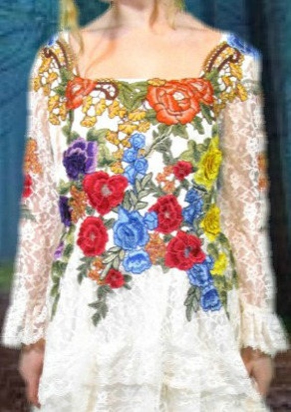 Bohemian Bridal emmeviele Dress XL Gown OOAK Gypsy Lace Floral Embroidered Tiered Garden Wedding Applique PO6gOqwEa