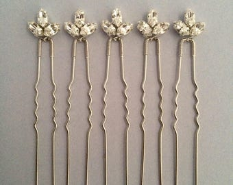 Bridal hair pins, bridesmaid hair pins, crystal hair pins, gold hair pins, silver hair pins