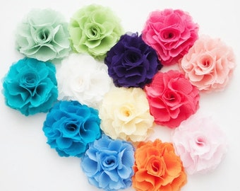 2pcs Handmade Chiffon flower hair clip with pin -Choose your Color